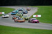 #86 Meyer Shank Racing w/Curb-Agajanian Acura NSX GT3, GTD: Mario Farnbacher, Matt McMurry, #76 Compass Racing McLaren 720S GT3, GTD: Corey Fergus, Paul Holton leads GTD field at start of race.