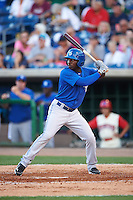 Dunedin Blue Jays outfielder D.J. Davis (6) at bat during a game against the Clearwater Threshers on April 8, 2016 at Bright House Field in Clearwater, Florida.  Dunedin defeated Clearwater 8-3.  (Mike Janes/Four Seam Images)