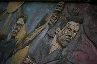 Ehemalige Militaerstadt der sowjetischen Armee in Ostdeutschland. Das gesamte Gelaende, auf dem bis zu 15.000 Menschen in einer abgeschiedenen Kleinstadt lebten wird renaturiert.<br /> Hier: Ausschnitt aus einem Wandrelief mit sow. Propaganda-Darstellungen.<br /> 20.10.2013<br /> Copyright: Christian-Ditsch.de<br /> [Inhaltsveraendernde Manipulation des Fotos nur nach ausdruecklicher Genehmigung des Fotografen. Vereinbarungen ueber Abtretung von Persoenlichkeitsrechten/Model Release der abgebildeten Person/Personen liegen nicht vor. NO MODEL RELEASE! Don't publish without copyright Christian-Ditsch.de, Veroeffentlichung nur mit Fotografennennung, sowie gegen Honorar, MwSt. und Beleg. Konto: I N G - D i B a, IBAN DE58500105175400192269, BIC INGDDEFFXXX, Kontakt: post@christian-ditsch.de<br /> Urhebervermerk wird gemaess Paragraph 13 UHG verlangt.]