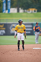 Kean Wong (2) of the Salt Lake Bees takes a lead from second base against the Las Vegas Aviators at Smith's Ballpark on July 25, 2021 in Salt Lake City, Utah. The Aviators defeated the Bees 10-6. (Stephen Smith/Four Seam Images)