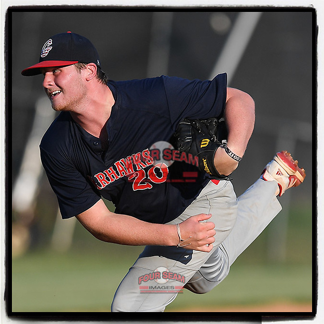 Riverside High grad Parker Kruglewicz (20), a Winthrop commit, pitched five innings for the Greer Warhawks in a South Carolina American League game against Easley on Tuesday, July 14, 2020, at Stevens Field in Greer, South Carolina. Greer won, 18-1. (Tom Priddy/Four Seam Images)