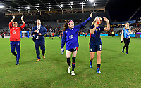 ORLANDO, FL - MARCH 05: Vlatko Andonovski, Rose Lavelle #16, Lindsey Horan #9 and the USWNT celebrate during a game between England and USWNT at Exploria Stadium on March 05, 2020 in Orlando, Florida.