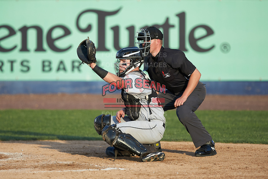 Fayetteville Woodpeckers catcher Michael Papierski (28) reaches for a high pitch as home plate umpire Steven Jaschinski looks on during the Carolina League game against the Wilmington Blue Rocks at Frawley Stadium on June 6, 2019 in Wilmington, Delaware. The Woodpeckers defeated the Blue Rocks 8-1. (Brian Westerholt/Four Seam Images)
