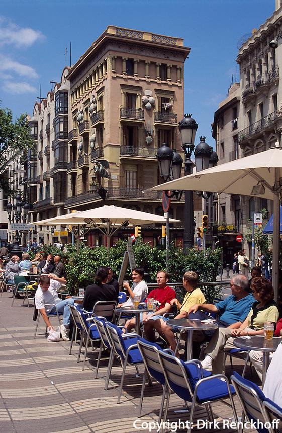 Strassencafe auf den Ramblas, Barcelona, Spanien