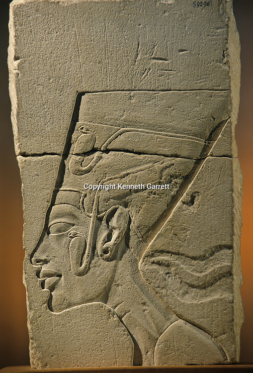Amarna; Temple of the Aten; sculptor's  model of Nefertiti, limestone; Tutankhamun and the Golden Age of the Pharaohs, Page 105