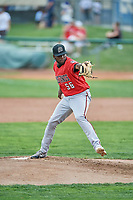 Billings Mustangs starting pitcher Luis Alecis (56) delivers a pitch to the plate against the Ogden Raptors at Lindquist Field on August 17, 2018 in Ogden, Utah. Billings defeated Ogden 6-3. (Stephen Smith/Four Seam Images)