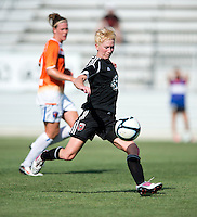 Joanna Lohman 17) of the D.C. United Women takes a shot during the game at the Maryland SoccerPlex in Boyds, Maryland.  The D.C. United Women defeated the Charlotte Lady Eagles, 3-0, to win the W-League Eastern Conference Championship.