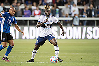 SAN JOSE, CA - AUGUST 13: Leonard Owusu #17 of the Vancouver Whitecaps dribbles the ball during a game between San Jose Earthquakes and Vancouver Whitecaps at PayPal Park on August 13, 2021 in San Jose, California.