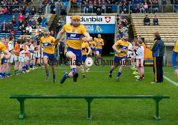John Conlon of Clare jumps the bench before their National League game at Thurles. Photograph by John Kelly.