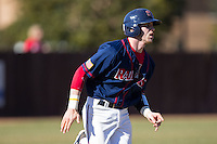 Jake Kennedy (30) of the Shippensburg Raiders hustles down the first base line against the Belmont Abbey Crusaders at Abbey Yard on February 8, 2015 in Belmont, North Carolina.  The Raiders defeated the Crusaders 14-0.  (Brian Westerholt/Four Seam Images)