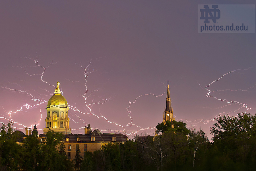 May 31, 2013; Dome and Basilica with a lightning storm. (Photo by Matt Cashore/University of Notre Dame)