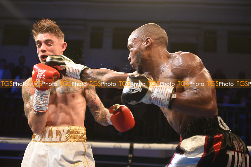Daniel Egbunike (black shorts) defeats Billy Allington during a Boxing Show at York Hall on 9th November 2019