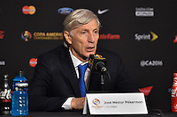 Glendale, AZ - Saturday June 25, 2016: Jose Pekerman after a Copa America Centenario third place match match between United States (USA) and Colombia (COL) at University of Phoenix Stadium.