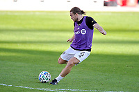 WASHINGTON, DC - NOVEMBER 8: Samuel Piette #6 of Montreal Impact warming up during a game between Montreal Impact and D.C. United at Audi Field on November 8, 2020 in Washington, DC.