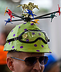 LOUISVILLE, KY - MAY 05: A man wears a helmet decorated with horses on Kentucky Derby Day at Churchill Downs on May 5, 2018 in Louisville, Kentucky. (Photo by Scott Serio/Eclipse Sportswire/Getty Images)