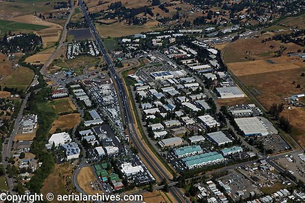 aerial photograph Petaluma Industrial Park with Redwood Business Park in background, Petaluma, Sonoma county, California