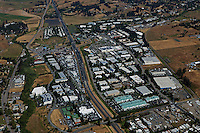 aerial photograph Petaluma Industrial Park with Redwood Business Park in background, Petaluma, Sonoma county, California