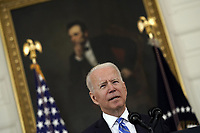 United States President Joe Biden delivers remarks on the economic recovery in the State Dining Room at the White House in Washington, DC on July 19, 2021. <br /> CAP/MPI/RS<br /> ©RS/MPI/Capital Pictures