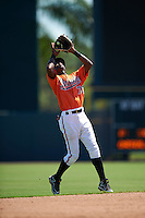 Baltimore Orioles shortstop Carlos Baez (73) during an Instructional League game against the Boston Red Sox on September 22, 2016 at the Ed Smith Stadium in Sarasota, Florida.  (Mike Janes/Four Seam Images)