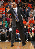 Jan. 2, 2011; Charlottesville, VA, USA; LSU Tigers head coach Trent Johnson calls a play during the game against the Virginia Cavaliers at the John Paul Jones Arena. Virginia won 64-50. Mandatory Credit: Andrew Shurtleff