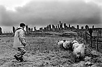 Callanish Standing Stones, Callanish Isle of Lewis and Harris,   Sheep farmer 1974 1970s UJ