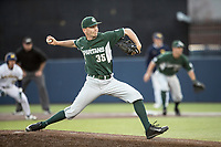 Michigan State Spartans pitcher Walter Borkovich (35) delivers a pitch to the plate against the Michigan Wolverines during the NCAA baseball game on April 18, 2017 at Ray Fisher Stadium in Ann Arbor, Michigan. Michigan defeated Michigan State 12-4. (Andrew Woolley/Four Seam Images)