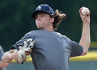 Perfect Timing Blue pitcher Reed Ronan, a freshman at Oral Roberts, delivers a pitch Tuesday, June 8, 2021, during play against Sandlot at the Randal Tyson Recreational Complex in Springdale. Visit nwaonline.com/210609Daily/ for today's photo gallery.<br /> (NWA Democrat-Gazette/Andy Shupe)