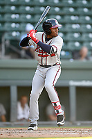 Left fielder Shean Michel (9) of the Rome Braves bats in Game 1 of a doubleheader against the Greenville Drive on Friday, August 3, 2018, at Fluor Field at the West End in Greenville, South Carolina. Rome won, 7-6. (Tom Priddy/Four Seam Images)