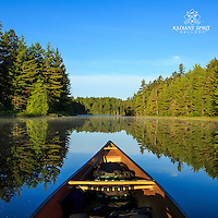 """""""Tranquil Morning Paddle""""<br /> One of life's simple pleasures is a serene morning paddle surrounded by a forest bursting with cheerful bird song.<br /> ~ Day 99 of Inspired by Wilderness: A Four Season Solo Canoe Journey"""