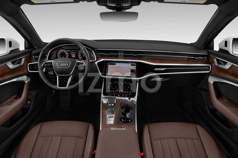 Stock photo of straight dashboard view of a 2019 Audi A6 Premium Plus 4 Door Sedan