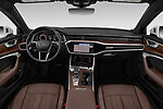 Stock photo of straight dashboard view of a 2019 Audi A6 Premium Plus 4 Door Sedan