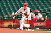 Arkansas Razorbacks first baseman Dominic Ficociello #25 waits for a throw during the game against the Texas Tech Red Raiders at Minute Maid Park on March 2, 2012 in Houston, Texas.  The Razorbacks defeated the Red Raiders 3-1. (Brian Westerholt/Four Seam Images)