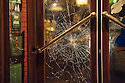 Damage to the doors of the Old Sailor Pub in the red light district of Amsterdam after it was attacked by Ajax fans.