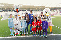 Children mascots the Premier League game between Swansea City v Chelsea at the Liberty Stadium, Swansea, Wales, UK. Saturday 28 April 2018