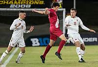 COLLEGE PARK, MD - NOVEMBER 15: Daniel Munie #5 of Indiana amd Eric Matzelevich #15 of Maryland clash during a game between Indiana University and University of Maryland at Ludwig Field on November 15, 2019 in College Park, Maryland.