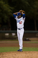 AZL Dodgers relief pitcher Jose Hernandez (47) prepares to deliver a pitch during an Arizona League game against the AZL White Sox at Camelback Ranch on July 3, 2018 in Glendale, Arizona. The AZL Dodgers defeated the AZL White Sox by a score of 10-5. (Zachary Lucy/Four Seam Images)