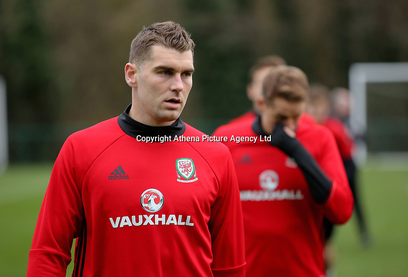 Sam Vokes in action during the Wales Training Session at The Vale Resort, Wales, UK. 06 November 2017