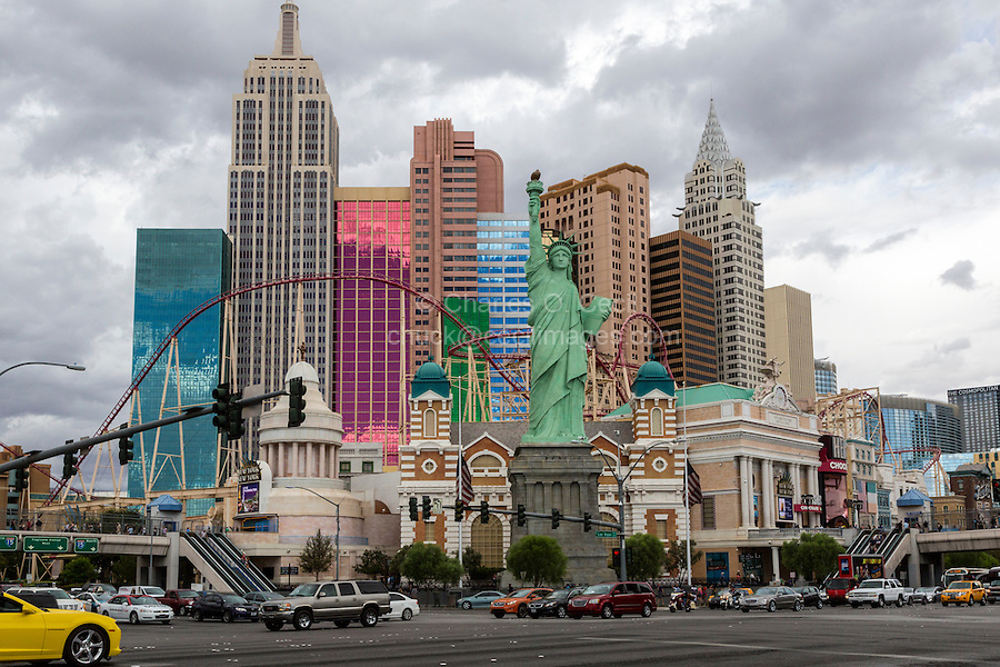 Las Vegas, Nevada.  New York New York Hotel and Casino, with Statue of Liberty Replica.