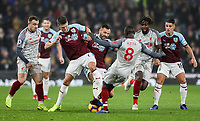 Burnley's Johann Guomundsson and Phillip Bardsley competing with Liverpool's Naby Keita<br /> <br /> Photographer Andrew Kearns/CameraSport<br /> <br /> The Premier League - Burnley v Liverpool - Wednesday 5th December 2018 - Turf Moor - Burnley<br /> <br /> World Copyright © 2018 CameraSport. All rights reserved. 43 Linden Ave. Countesthorpe. Leicester. England. LE8 5PG - Tel: +44 (0) 116 277 4147 - admin@camerasport.com - www.camerasport.com