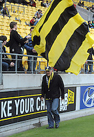 Phoenix co-owner Gareth Morgan walks to the stands during the A-League football round six match between Wellington Phoenix and Central Coast Mariners at Westpac Stadium, Wellington, New Zealand on Sunday, 11 November 2012. Photo: Dave Lintott / lintottphoto.co.nz