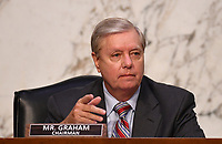 United States Senator Lindsey Graham (Republican of South  Carolina), Chairman, US Senate Judiciary Committee, speaks during a Senate Judiciary Committee confirmation hearing on the nomination of Amy Coney Barrett for Associate Justice of the Supreme Court, on Capitol Hill in Washington, DC on Thursday, October 15, 2020.  If confirmed, Barrett will replace Justice Ruth Bader Ginsburg, who died last month.  <br /> Credit: Kevin Dietsch / Pool via CNP /MdeiaPunch