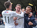Raith Rovers' Calum Elliot celebrates with Grant Anderson and sub Gordon Smith after he scores their third goal.