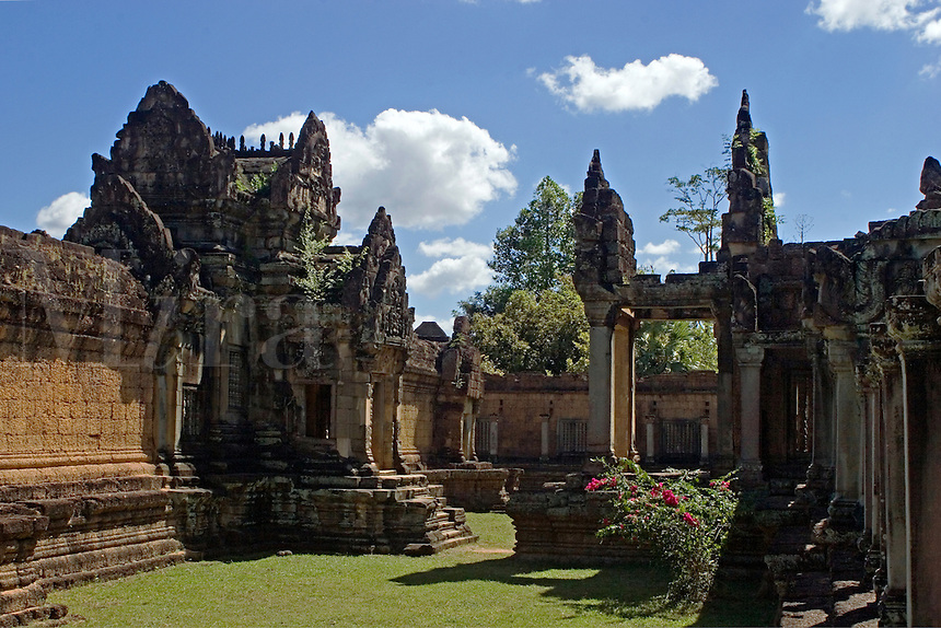The Khmer ruins of East Mebon, built of laterite and sandstone by Rajendravarman in the10th century - Angkor Wat, Siem Reap, Cambodia....
