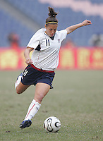 January 30, 2007: Carli Lloyd runs with the ball. The U.S. defeated China, 2-0, to win the Four Nations Tournament at Guangdong Olympic Stadium in Guangzhou, China.