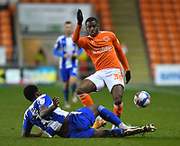 Blackpool's Beryly Lubala is tackled by Wigan Athletic's Emeka Obi<br /> <br /> Photographer Dave Howarth/CameraSport<br /> <br /> The EFL Sky Bet League One - Blackpool v Wigan Athletic - Tuesday 3rd November 2020 - Bloomfield Road - Blackpool<br /> <br /> World Copyright © 2020 CameraSport. All rights reserved. 43 Linden Ave. Countesthorpe. Leicester. England. LE8 5PG - Tel: +44 (0) 116 277 4147 - admin@camerasport.com - www.camerasport.com