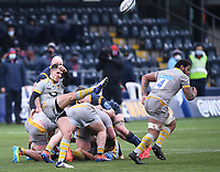 14th February 2021; Sixways Stadium, Worcester, Worcestershire, England; Premiership Rugby, Worcester Warriors versus Wasps; Sam Wolstenholme of Wasps kicks from a ruck