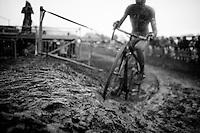 Michael Vanthourenhout (BEL) skidding in the rain/mud<br /> <br /> 2014 Noordzeecross