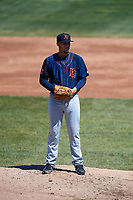 Bowling Green Hot Rods starting pitcher Adrian Navas (15) gets ready to deliver a pitch during a game against the Beloit Snappers on May 7, 2017 at Pohlman Field in Beloit, Wisconsin.  Bowling Green defeated Beloit 6-2.  (Mike Janes/Four Seam Images)