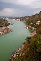 India, Rishikesh.  River Ganges (Ganga) Flowing toward the Plains of Northern India.