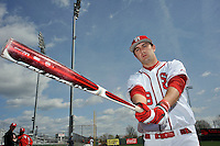 St.John's Red Storm outfielder Jeremy Baltz (18) before the first game of a doubleheader against Notre Dame Fighting Irish at Jack Kaiser Stadium in Queens, New York;  April 21, 2011.  St. John's defeated Notre Dame 6-0.  Photo By Tomasso DeRosa/Four Seam Images